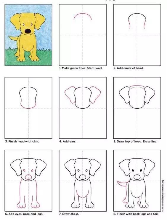 九种小狗的简笔划法详细教程,送给宅家的孩子