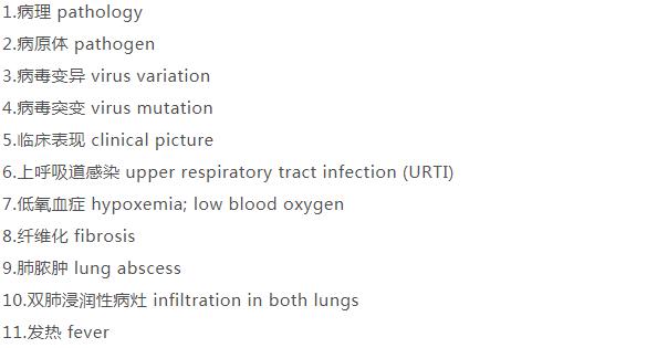 新型冠状病毒疫情防控词汇中英对照表